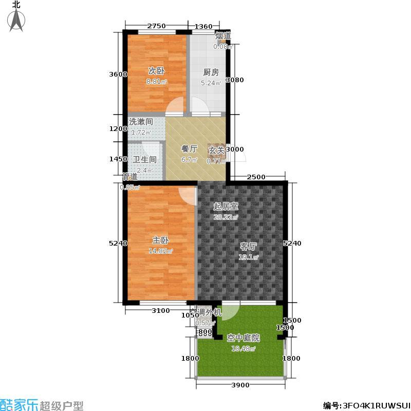 北一街8号(高教新城)87.00㎡高教新城观宇园3号楼B1偶户型2室1厅