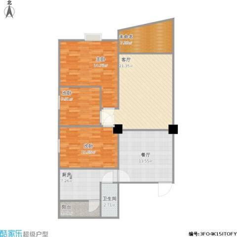 幸福汇鑫苑(幸福花苑2)3室2厅1卫1厨121.00㎡户型图