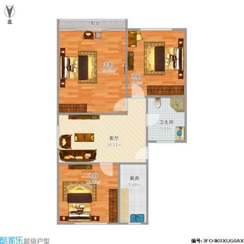 真光四街坊3室1厅1卫1厨101.00㎡户型图