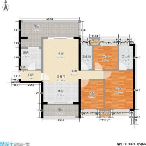 敏捷・锦绣明珠3室1厅2卫1厨117.00㎡户型图