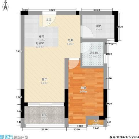 京海成・鹿港溪山1室0厅1卫1厨54.00㎡户型图