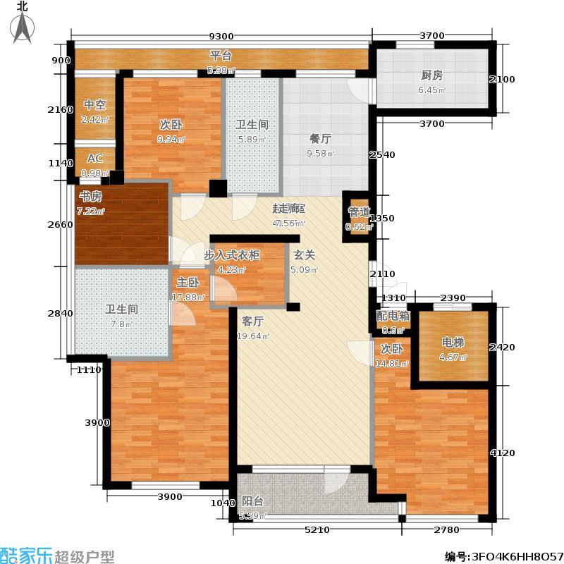 绿城百合花园165.00㎡H户型 四室两厅两卫户型4室2厅2卫