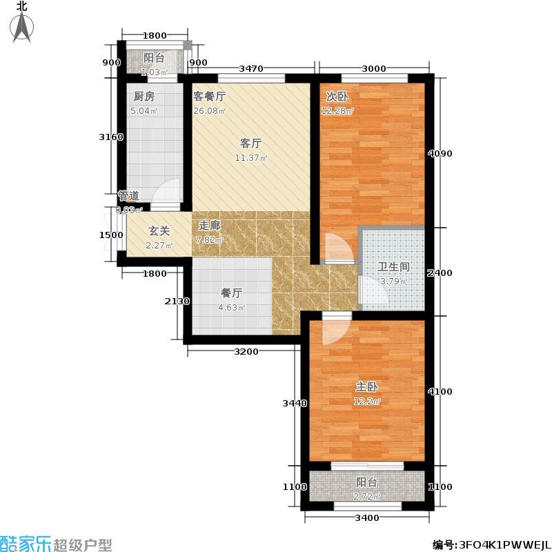 中鼎·凤凰城91.00㎡29号楼B户型2室2厅
