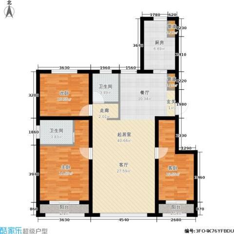 天麓花园3室0厅2卫1厨122.00㎡户型图