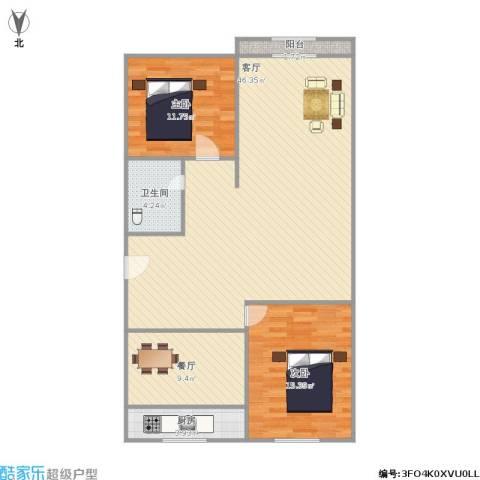 绿景嘉园2室2厅1卫1厨124.00㎡户型图