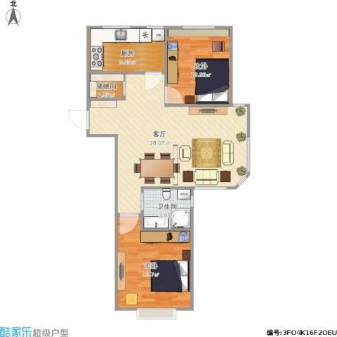 周庄嘉园三期2室1厅1卫1厨85.00㎡户型图