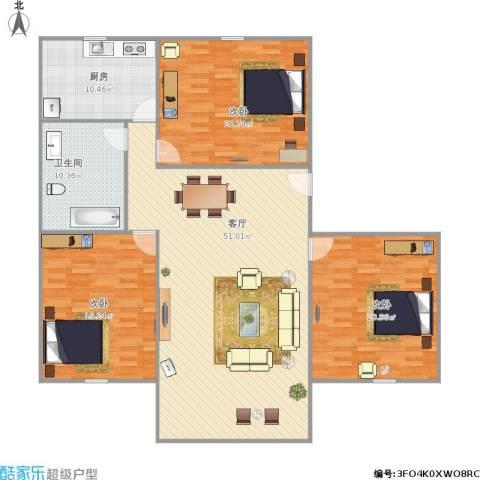 新莲岳里3室1厅1卫1厨176.00㎡户型图