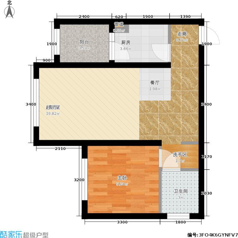 滨才星城B1户型 一室两厅一卫 使用面积41.08平户型1室2厅1卫