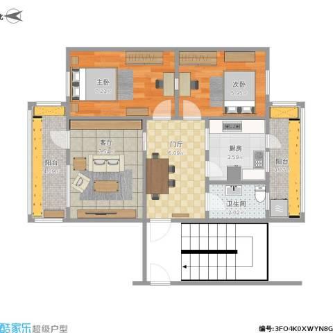 河北医科大学宿舍2室1厅1卫1厨56.00㎡户型图
