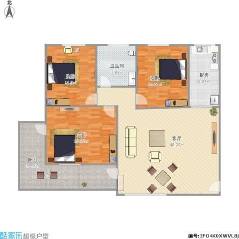 屿后北里3室1厅1卫1厨176.00㎡户型图
