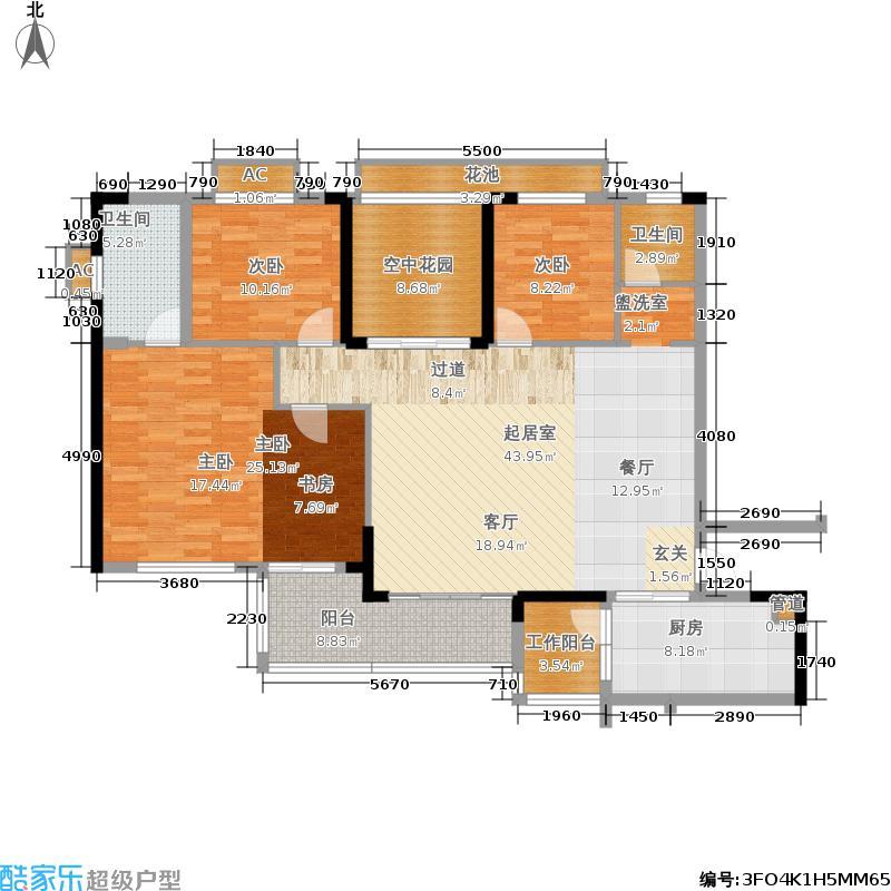 芜湖碧桂园140.00㎡江心环玉花园洋房J77户型