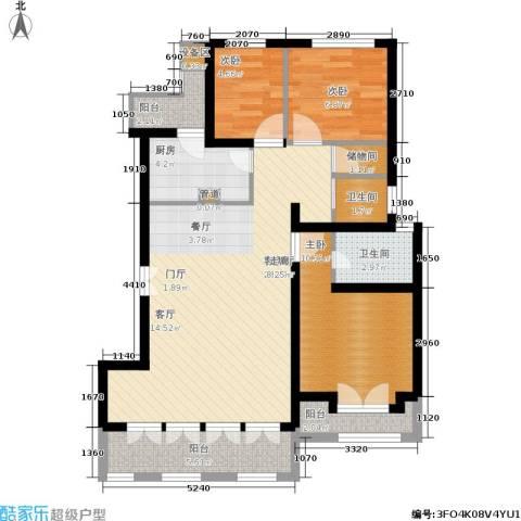 上郡3室1厅2卫1厨110.00㎡户型图