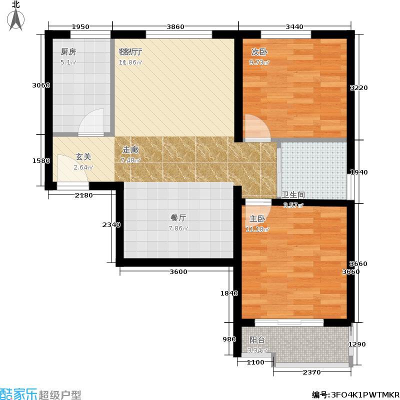 中鼎·凤凰城81.00㎡41号楼D-1户型2室2厅