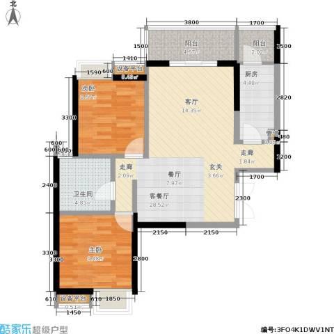 绵阳CBD万达广场2室1厅1卫1厨87.00㎡户型图