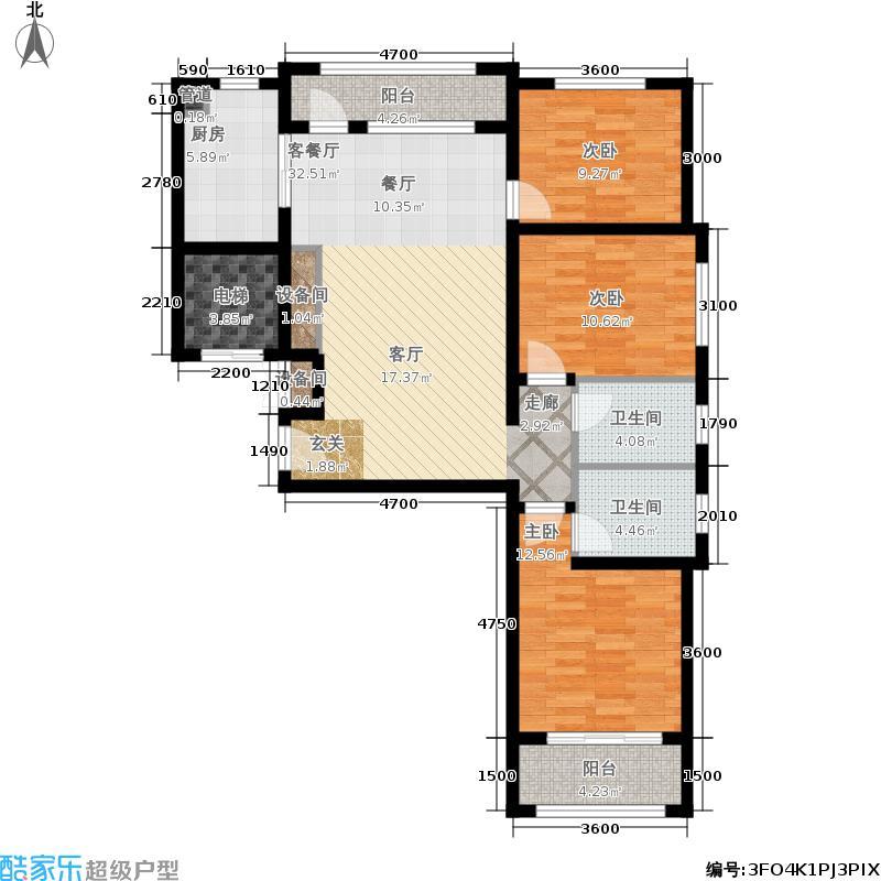 阳光心屿115.10㎡3号楼01户型3室2厅