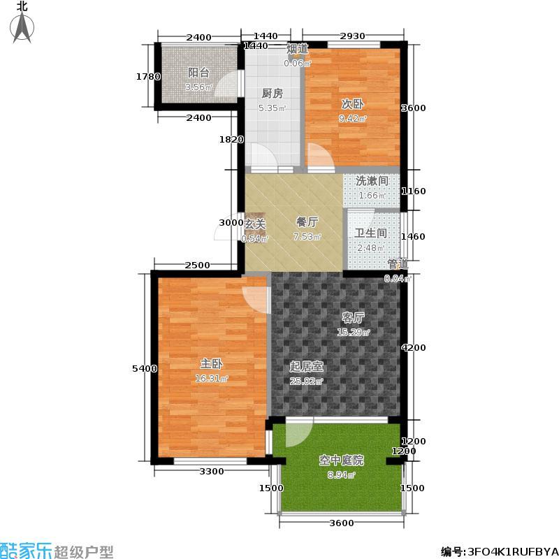 北一街8号(高教新城)88.00㎡高教新城和畅园5、7号楼W1(偶数层)户型2室1厅