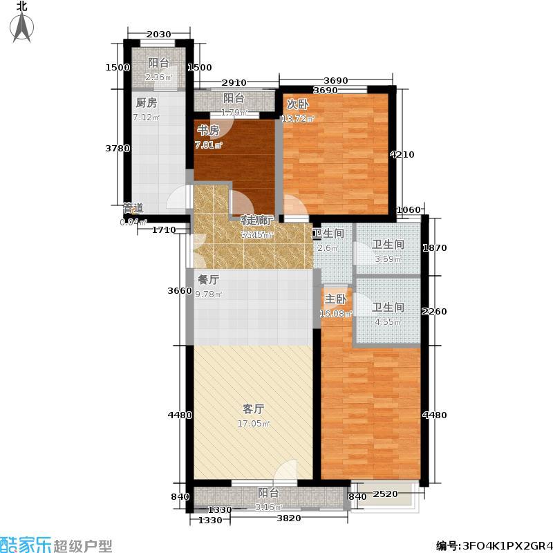 金隅翡丽(金隅翡丽·蓝爵堡)125.00㎡三期C3户型3室2厅