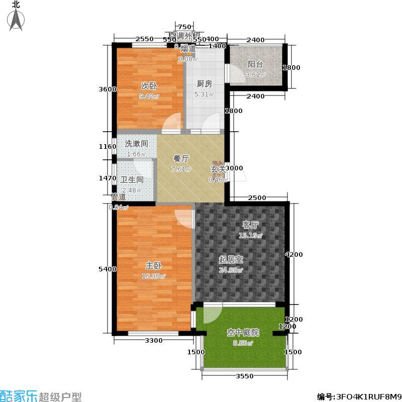 北一街8号(高教新城)89.00㎡高教新城和畅园5、7号楼W1边户型2室1厅