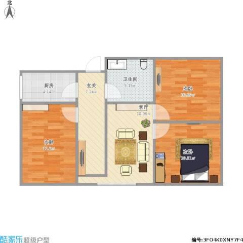 花园小区3室1厅1卫1厨80.00㎡户型图