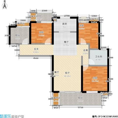 绵阳CBD万达广场3室1厅1卫1厨117.00㎡户型图