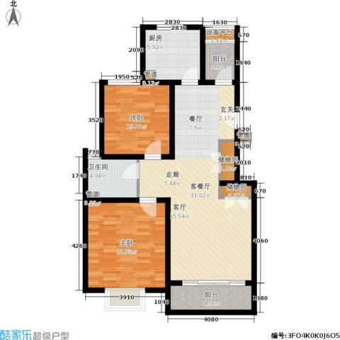 浦江颐城尚院2室1厅1卫1厨88.00㎡户型图