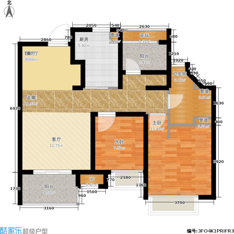 万科梦想派85.00㎡两居户型2室2厅