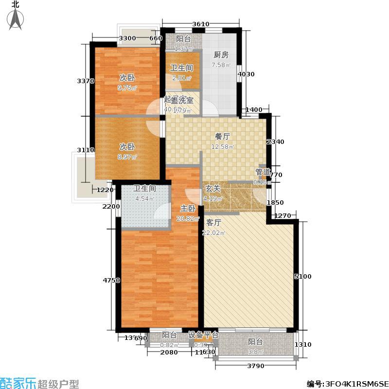 星河城(玺萌公馆)星河城三期19号楼H-1户型3室2厅