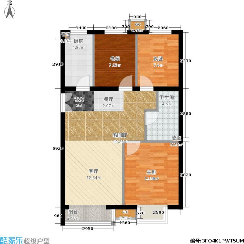 首开国风美唐95.00㎡8号楼E3户型3室2厅