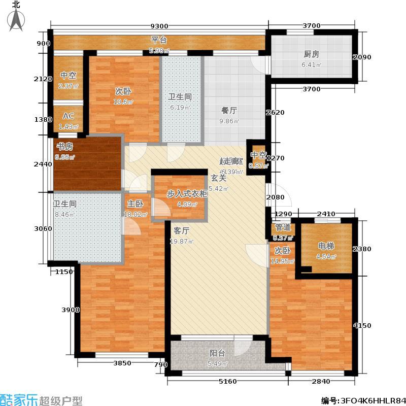绿城百合花园165.00㎡D4号楼 H户型 四室两厅两卫户型4室2厅2卫