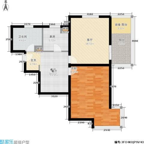 华府樟园1室2厅1卫1厨91.00㎡户型图
