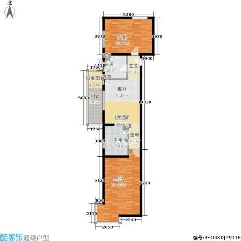 大华清水湾花园三期华府樟园2室0厅1卫1厨106.00㎡户型图