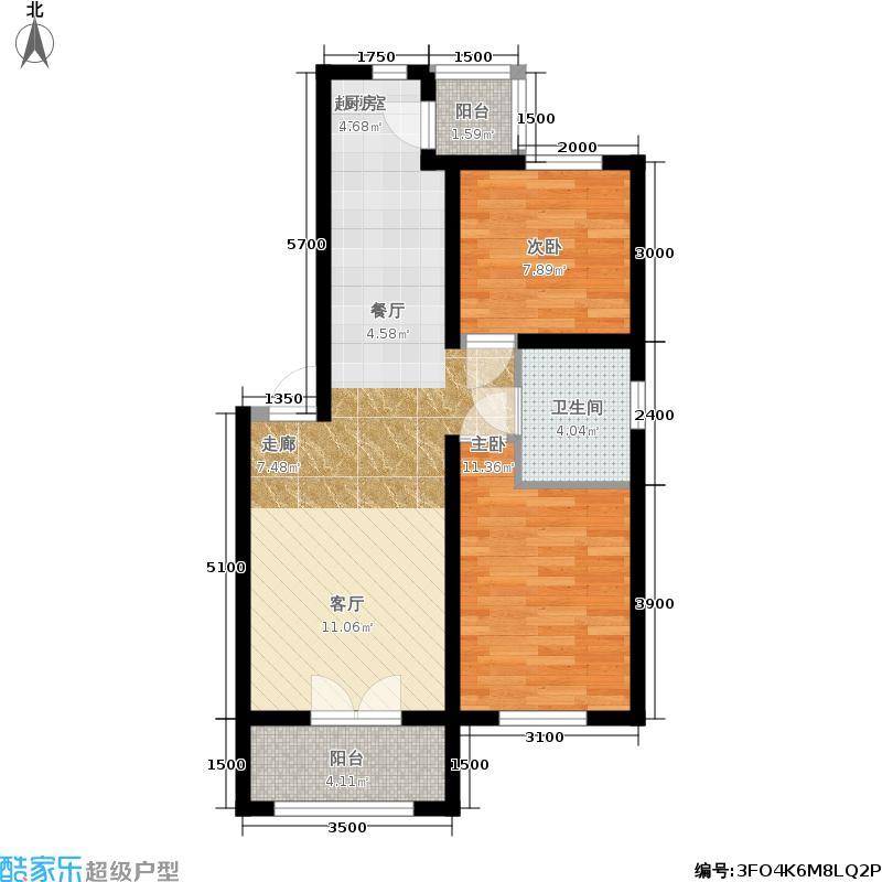 滨才星城三期花语小筑户型图参考使用面积51.12平米户型2室2厅1卫