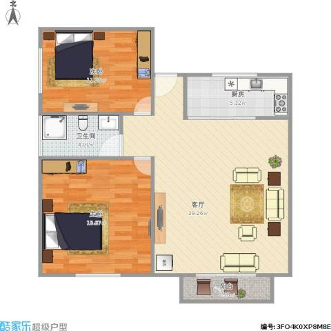 新莲岳里2室1厅1卫1厨91.00㎡户型图