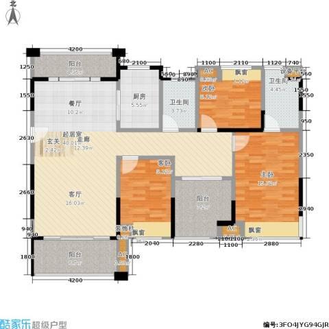 佛奥俊贤雅居3室0厅2卫1厨121.00㎡户型图
