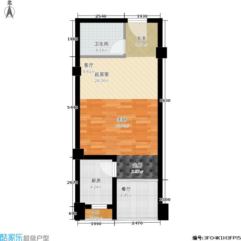 蚌埠鹏欣水游城48.00㎡公寓D2户型