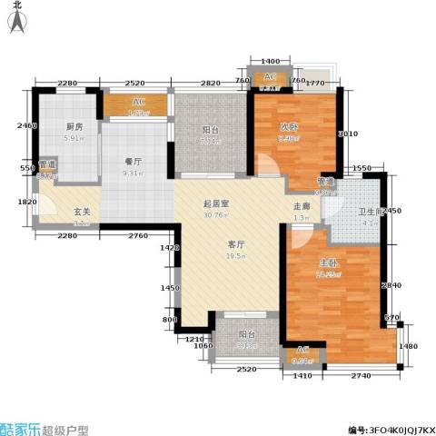 盘古天地2室0厅1卫1厨88.00㎡户型图