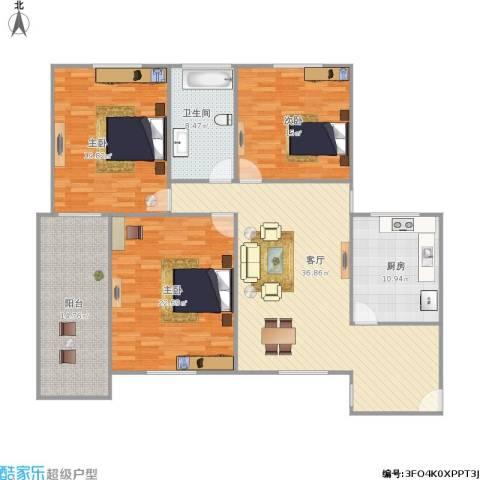 新莲岳里3室1厅1卫1厨171.00㎡户型图
