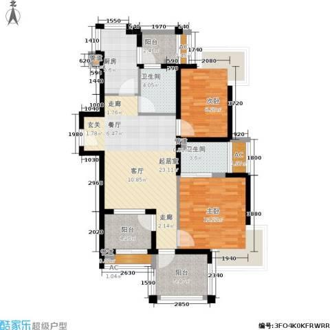 绿中海明苑2室0厅2卫1厨85.00㎡户型图