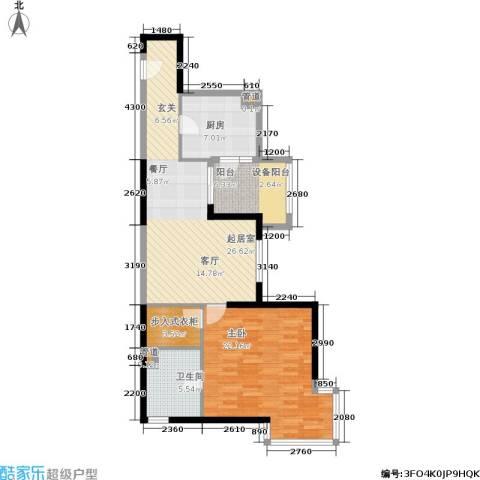 大华清水湾花园三期华府樟园1室0厅1卫1厨81.00㎡户型图