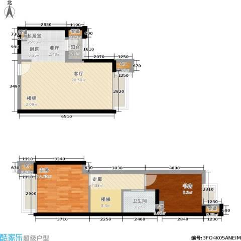 龙湖·时代天街2室0厅1卫0厨85.00㎡户型图