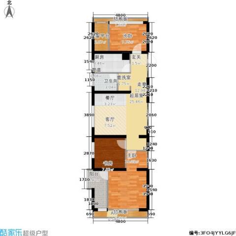 仙林国际花园3室0厅1卫1厨83.00㎡户型图