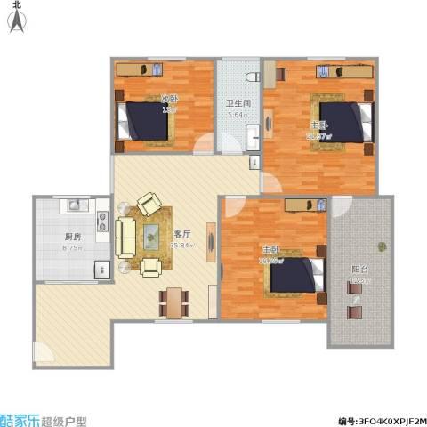 新莲岳里3室1厅1卫1厨154.00㎡户型图