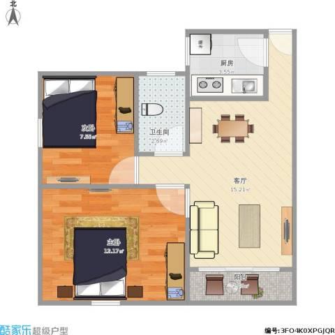 新莲岳里2室1厅1卫1厨60.00㎡户型图