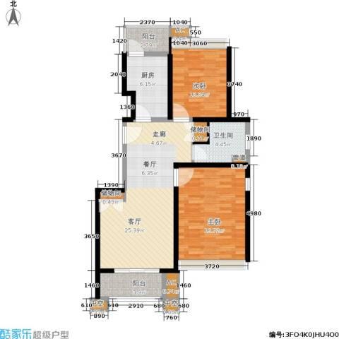 保利湖畔阳光苑2室1厅1卫1厨88.00㎡户型图
