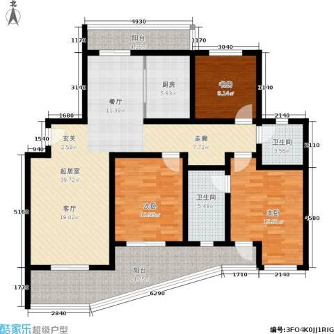棕榈滩海景城3室0厅2卫1厨127.00㎡户型图