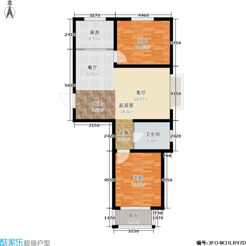 天洲视界城96.09㎡B区7号楼A户型2室2厅