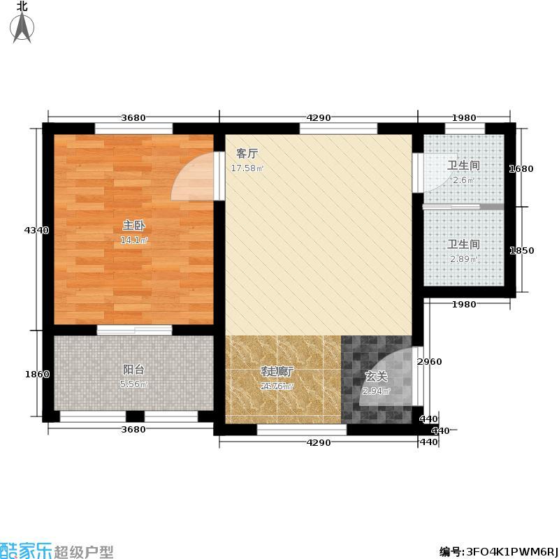 雪绒堡57.57㎡C一居户型1室1厅