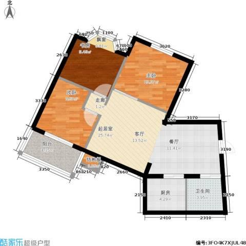 华茂玉龙园3室0厅1卫1厨75.00㎡户型图