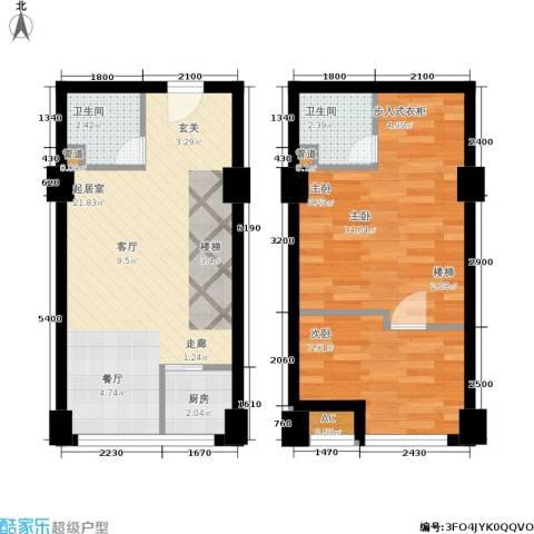 中民长青里2室0厅2卫1厨52.15㎡户型图