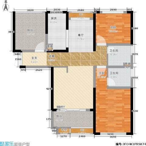 中科苑2室1厅2卫1厨113.00㎡户型图
